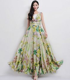 Beige Floral Print A-line Maxi Dress Yellow Green Bohemian Boho Chic  Wedding Bridesmaid Full Pleated Skirt Party Prom Flowy Event Ball Gown