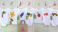 Adorable clothing made with potato prints.