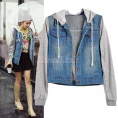NEW DENIM JERSEY JACKET Womens Jean Jackets LADIES Hooded Coat Outerwear