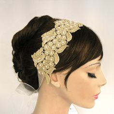 Gold lace bridal weddings headband handmade by MammaMiaBridal, $45.00