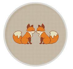 PRINTED Cross stitch pattern, Counted cross stitch pattern, Free shipping, Cute foxes