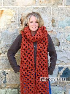 Crochet Scarf Design Free super scarf crochet pattern from Snappy Tots Crochet Scarves, Crochet Shawl, Crochet Yarn, Knitting Scarves, Crochet Edgings, Freeform Crochet, Tunisian Crochet, Crochet Granny, Crochet Motif