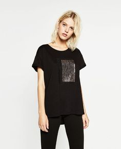 Image 1 of FOIL LACE T-SHIRT from Zara