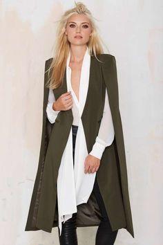 Lavish Alice On the Fly Cape Jacket - Green - Jackets + Coats