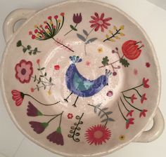Céramique, faïence, décor oiseau, 100% fait main