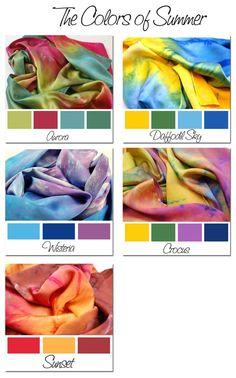 The Colors of SUMMER.Hand Dyed Silk Charmeuse Scarf, choose your palette Tie Dye Tutorial, Diy Tie Dye Shirts, Tie Dye Crafts, Tie Dye Colors, How To Tie Dye, Dyed Silk, Color Combos, Color Schemes, Silk Art