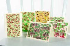 Handmade Christmas holiday cards set original by MariposaTextiles, $13.00
