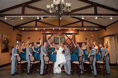 rustic fall wedding, barn bar, orange and teal, wedding party, cowboy boots, wedding photo, twistingfate