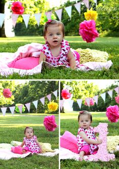Girl's first birthday photos! Pink + pom poms + banners + a giant #1