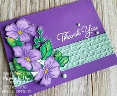 handmade thank you card using Blended Seasons stamp set with Petal Pair embossing folders, Faceted Dots, and Stampin' Blends alcohol markers - Sarah Fleming - Prepare to Dye Papercrafts Handmade Thank You Cards, Purple Cards, Thanks Card, Paper Smooches, Colorful Christmas Tree, Stamping Up Cards, Card Kit, Flower Cards, Cute Cards