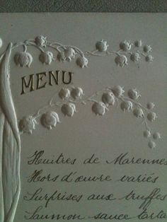 French Menu.  Many of our fabrics come from France.