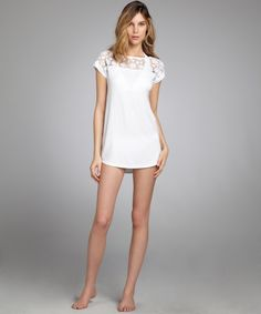 Shoshannawhite stretch jersey lace inset t-shirt swim coverup | BLUEFLY up to 70% off designer brands