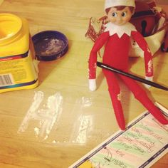 Jingles - after his first evening at the house. Dropping off his grocery list #Elfontheshelf.