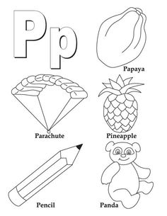 my a to z coloring book letter p coloring page