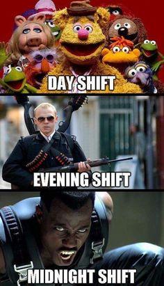Day shift, evening shift, midnight shift