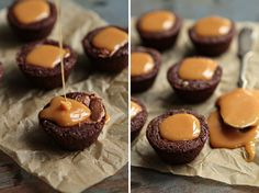 Bite size brownies are stuffed with miniature Milky Way candy bars and topped with pool of caramel to create a popable bite of brownie bliss.