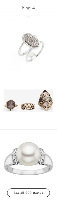 """""""Ring 4"""" by laumariborche ❤ liked on Polyvore featuring jewelry, rings, druzy stone ring, band rings, druzy jewelry, stone jewellery, kendra scott, evening jewelry, statement cocktail rings and special occasion jewelry"""