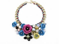 Large Flower Necklace Beadwork Chunky Statement by eBijoux on Etsy, $19.99