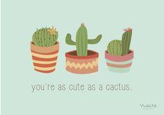cactus print, printable. cute design, illustration, illustrated, sweet, girly, cute, summer.