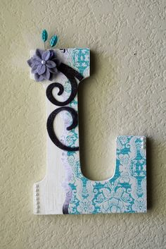 "Large Boutique Wall Letter Monogram by LolaMonkey on Etsy  Measuring in at 8 3/4"" high and 5 1/2"" wide, this chunky block letter comes decorated and personalized to match your color scheme. Ready to hang on the wall using the pre-cut notch, or you can stand it up on a table, shelf, bookcase, etc."