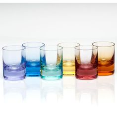 Set of 6 Whisky Shot Glasses design by Moser ($305) ❤ liked on Polyvore featuring home, kitchen & dining, drinkware, colored stemware, whiskey shot glasses, whiskey shot glass, engraved shot glass and rock cutter