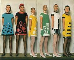 Minidresses by designer Mary Quant. Quant's introduction of the miniskirt in the mid-1960's brought about great change in fashion.