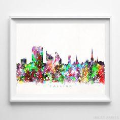 Tallinn Estonia Skyline Watercolor Wall Art Print. Prices from $9.95. Available at InkistPrints.com - #skyline#watercolor#cityscape#walldecor#livingroomdecor#Tallinn #Estonia