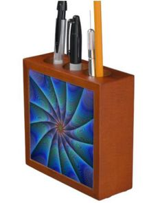 Path to meditation desk organizers $30.90 *** Blue colorful hypnotic fractal design *** fractal - swirl - meditation - hypnotic - psychedelic - design - blue - goal - focus - converge - graphic - path - way - seed - stripes - computer generated - digital - abstract - art - decor - desk organizer