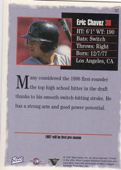 1997 Best #37 Eric Chavez Back