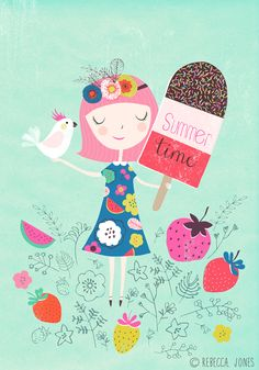 Ice Cream Girl - by Rebecca Jones Giclee print of an original illustration. Printed on high grade, archival paper, with archival quality Art And Illustration, Character Illustration, Illustrations Posters, Ice Cream Art, Whimsical Art, Happy Day, Surface Design, Cute Art, Illustrators