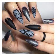 Why are stiletto nails so amazing? We have found the very Best Stiletto Nails for 2018 which you will find below. Having stiletto nails really makes you come off as creative and confident. Gray Nails, Black Nails, Hot Nails, Hair And Nails, Acrylic Nail Designs, Nail Art Designs, Dark Nail Designs, Acrylic Nails, Coffin Nails