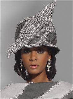Simply Elegant Ladies Grey Hat with Sparkling Rhinestones by Donna Vinci H1464 $229.00