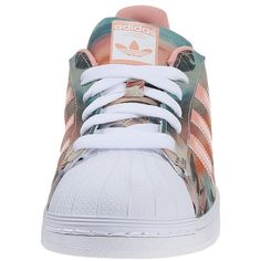 adidas Originals Superstar W Women's Classic Shoes ($85) ❤ liked on Polyvore featuring shoes, athletic shoes, adidas, herringbone shoes, genuine leather shoes, traction shoes, lace up shoes and real leather shoes