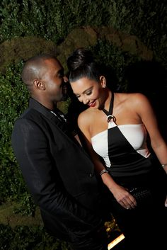 Kanye West with Kim Kardashian in Chanel.