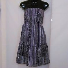 """Strapless Summer Cutie It's strapless because I misplaced them lol. Price reflects this!  Runched elastic back. 2 front pockets cinch closed with ties, 3rd pic. Purple, grey & silver, color shows best in 3rd & 4th pix. Measured flat 14"""" across bust 26"""" long GAP Dresses Mini"""