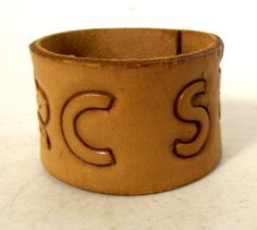 Light Tan Leather Cuff Bracelet Personalized by honeyblossomstudio