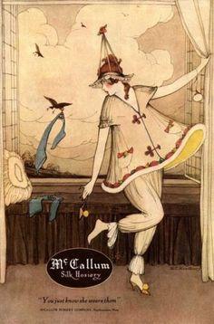 1920-MCCALLUM-SILK-HOSIERY-BEDTIME-PJs-SEXY-FASHION-BEAUTY-QUEEN-POSTER-318583