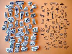 453921c08a8f hand carved creature stamps. Eraser Stamp, Stamp Carving, Hand Carved, Make  Your
