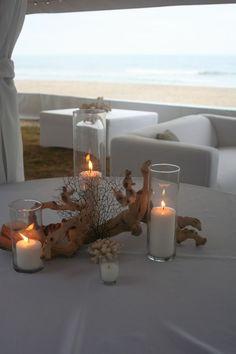 Coral Beach Wedding Centerpieces | Driftwood Coral Centerpiece Sandbridge Virginia Beach Isha Foss Events: