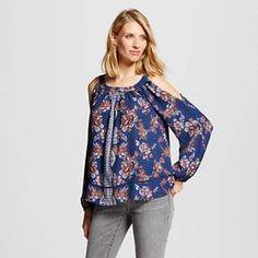 Women's Printed Long Sleeve Cold Shoulder Blue XL - Knox Rose™ : Target