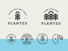 Planted badges designed by Jay Master . Connect with them on Dribbble; Typography Logo, Logo Branding, Logos, Eco Brand, Tee Tree, Badge Logo, Badge Design, Brand Identity Design, Logo Inspiration