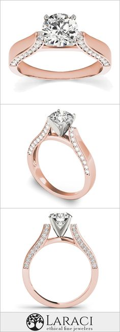 14K Rose Gold Engagment Ring with Side Accents set with a 1ct (6.5mm) Round Forever Brilliant Moissanite