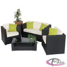 Salón de jardin 3 elementos de resina trenzada 2 sofas 1 mesa baja ...