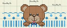 Baby Cross Stitch Patterns, Cross Stitch For Kids, Cross Stitch Heart, Cross Stitch Animals, Baby Patterns, Crochet Motif, Crochet Baby, Baby Sheets, Baby Embroidery