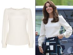 Kate's blouse is by GOAT Fashion, a brand becoming a favorite for the Duchess.  The 'Binky' blouse is 100% silk; it has a slim fit, round neck, and full sleeves that gather into the cuffs (£290, about $415).