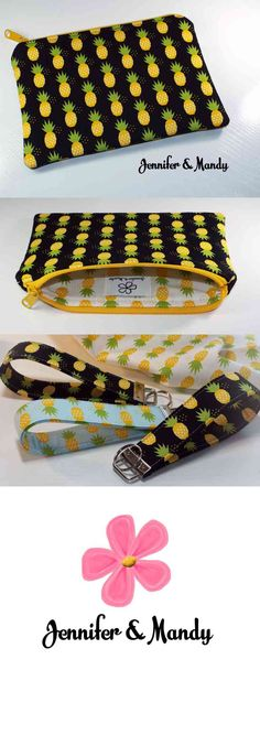 This lined zipper pouch comes in a beautiful pineapple design with vibrant colors.  The measurements are 8 inches by 6 inches approximately.  This listing includes one zipper pouch with the Jennifer & Mandy label sewn inside the bag pictured in the first and second picture.   It is soooo cute and perfect for supplies/pencils, your phone, makeup, to throw into a larger bag (...) (via pushapin.com)