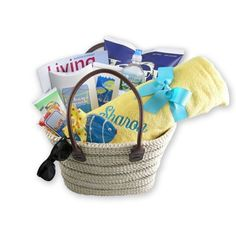Life's a Beach GIft basket.....includes childs chair, handtowel ...