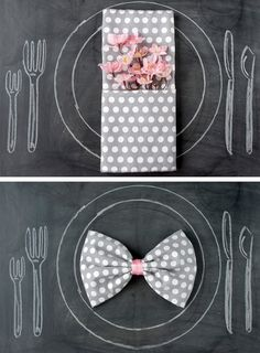 Place setting napkins in Decoration for babies, children and adults parties, for events such as anniversaries or birthdays or dinners