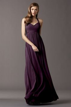 Watters Maids Dress Mulberry Style 4513 | Watters.com  not sure if she'd be comfortable in a halter