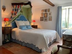 """Master bedroom """"Les Roses"""" at L'Oustal Pigassou in the South of France"""